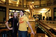 Angela Damaini, executive director of Art Milwaukee, with Matt Kemple, artistic producer of Pink Banana Theater Co.