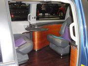 The inside of the limousine.