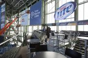 The Miller Lite Party Deck includes two levels of seating and a bar.
