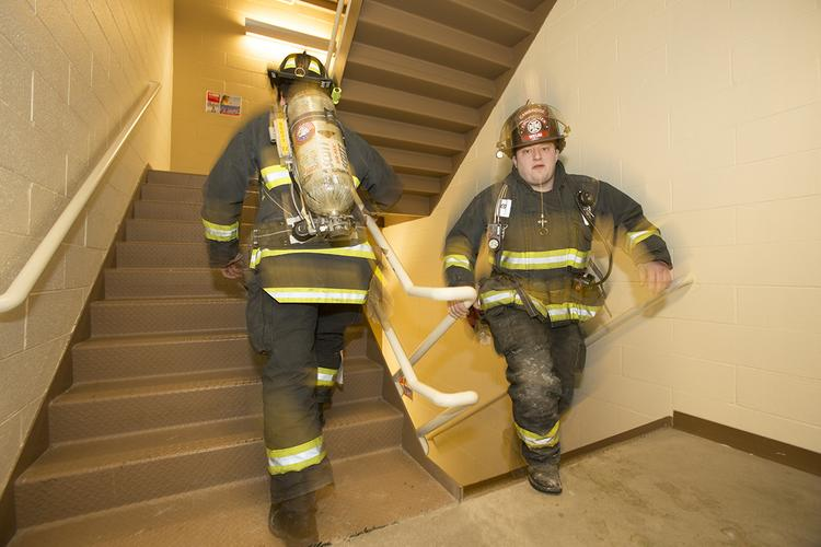 Firefighters from throughout southeastern Wisconsin participated in full gear.