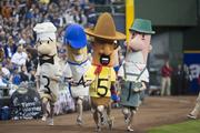 The first Famous Klement's Sausage race of the season.
