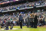 Joseph Attanasio, father of Milwaukee Brewers principal owner Mark Attanasio, sings the National Anthem.