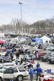 The parking lots were packed several hours before the game.