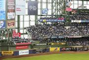 Corporate sponsors signs line the walls of Miller Park.