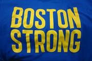 The colors used are similar to the colors of the Boston Marathon.