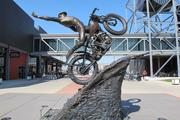 A statue on the Harley-Davidson Museum grounds.
