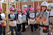 The group gets ready to start working on the home.