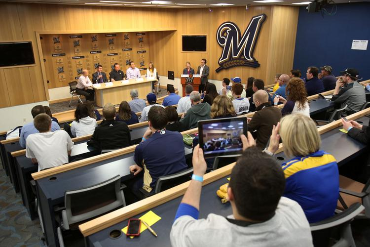About 75 fans attended the social media event held by the Milwaukee Brewers at Miller Park Monday.