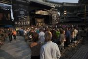 The stage had to be torn down immediately after the concert as the Brewers return to Miller Park Monday.