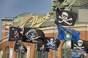 Brewers flags were all over the parking lot.