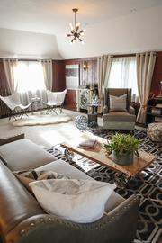 The home's family room on the second floor, designed by Susan Fredman Design Group