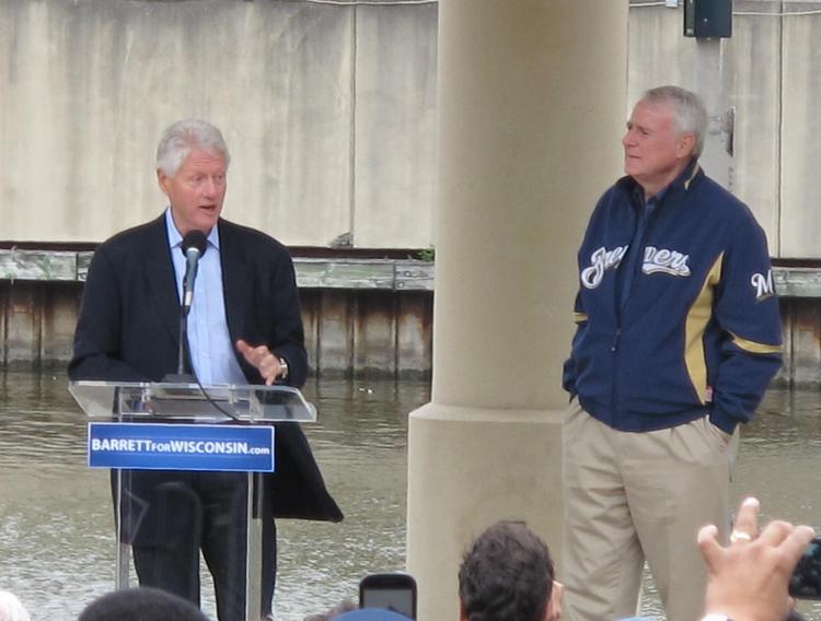 Former President Bill Clinton visited Milwaukee Friday to campaign for Mayor Tom Barrett.