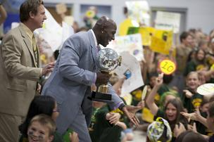 Donald Driver brought along the Mirror Ball, the special trophy he won on