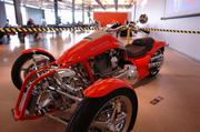 A Harley-Davidson motorcycle was on display at the event.