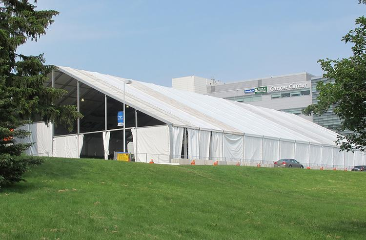 A 250,000-square-foot tent sits at the site of the new Froedtert building.