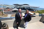 Dan Minahan, Don Smiley and the BMO Harris Bank Pavilion the week before the opening