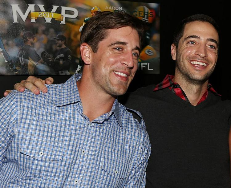 Ryan Braun (right) with Aaron Rodgers