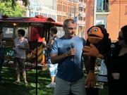 Performers from the Skylight Music Theatre, including director of artistic operations Diana Alioto (at right) and her puppet, Sammy, entertained the crowd.