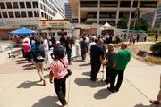 Hundreds of people showed up to play games and eat free food at Red Arrow Park on Thursday.