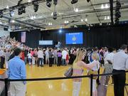 The Bradley Tech High School gym begins to fill up before Obama's appearance.
