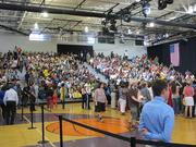 The bleachers were full at Bradley Tech High School for Obama's visit.