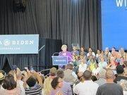 Democratic U.S. Senate candidate Tammy Baldwin speaks during the rally.