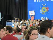 The crowd was filled with exuberant Obama supporters.