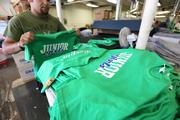 Redwall Screen Printing can produce between 500 and 600 shirts an hour.Click here for story.