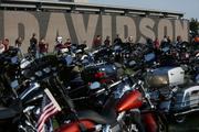 Motorcycles packed the lots.