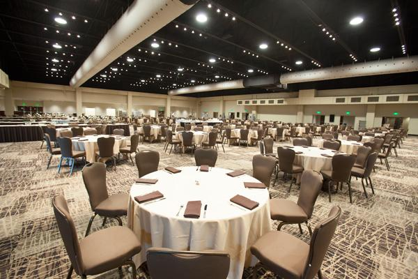Potawatomi Bingo Casino's renovated expo hall can hold 1,200 for banquets. The space now offers earth-tone carpeting and soft lighting for a friendlier welcome.