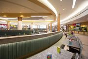 The food court renovation includes new seating and table arrangements.