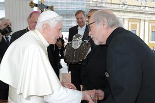 Pope Benedict XVI blessed a pair of Harley-Davidson motorcycle gas  tanks at the Vatican in October 2012 as part of the company's upcoming 110th  anniversary. Willie G. Davidson,  grandson of one of the company's founders, was on hand.