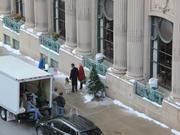 Three actors did multiple takes laughing and walking on the sidewalk toward East Wisconsin Avenue.