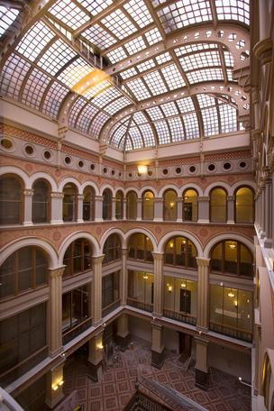A five-story atrium in the center of the hotel is a defining feature.