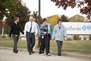 Employees walk near Anthem Blue Cross and Blue Shield in Waukesha. The firm took first place in the large company category.