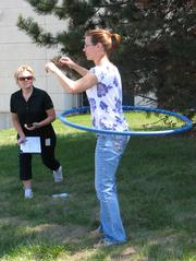 An employee of Benefit Services Group in Pewaukee participates in the company's wellness activities.