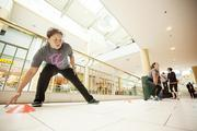 Jo Sherwan is participating in a workout given by Goodyear Chiropractic Health Center at the mall.