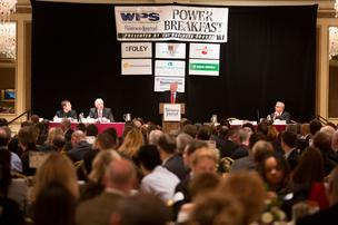 Stephen Roell, chairman and CEO of Johnson Controls Inc., spoke at The Business Journal's Power Breakfast on Dec. 7.