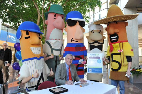 Milwaukee Mayor Tom Barrett participated in the 19-hour Match Day event with an appearance at a special midday gathering in the lobby of the 411 Building at 411 E. Wisconsin Ave., along with the Klement's Famous Racing Sausages.