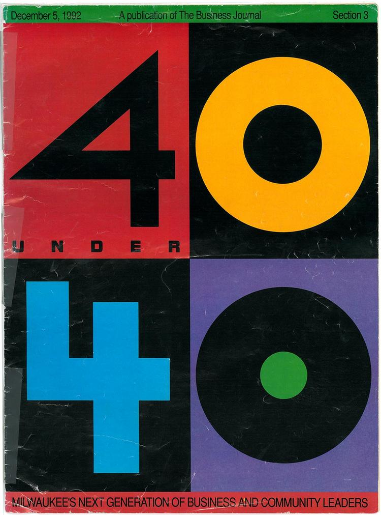 The cover of the 1992 40 Under 40 awards section.
