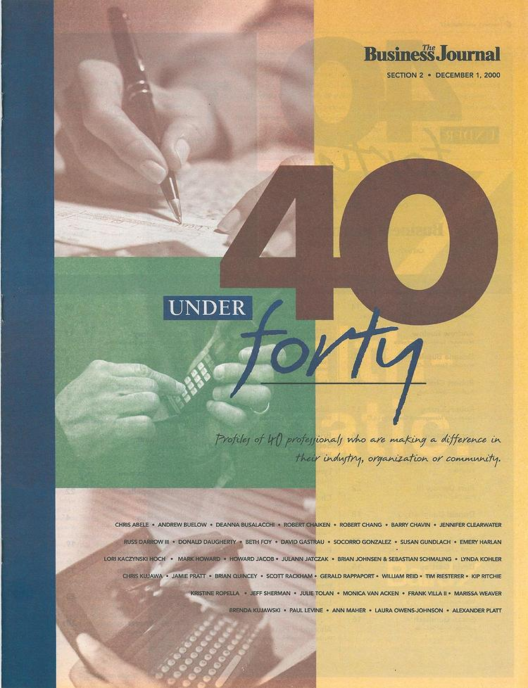 The cover of the 2000 40 Under 40 awards section.
