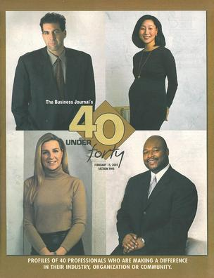 The cover of the 2002 40 Under 40 awards section