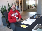 Mark Dreschler, a Doors Open Milwaukee volunteer, at HGA Architects, which is located in the Marine Terminal Building, 333 E. Erie St.