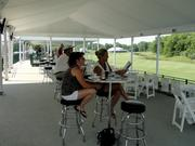 Fans were able to sit and watch the action on the 18th hole from the skyboxes.