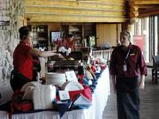 Servers prepared food for guests who watched the tournament from the clubhouse.
