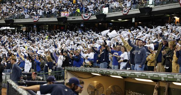 As part of Fan Appreciation Weekend, the Brewers will distribute rally towels to everyone at the games  Friday, Saturday and Sunday.
