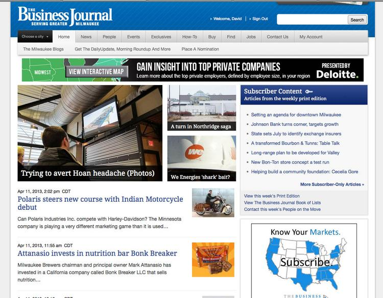 The Business Journal's new home page features a sleek new look with prominent graphics and news headlines.