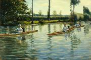 """If the Steelers win the Super Bowl, the Milwaukee Art Museum will loan Gustave Caillebotte's """"Boating on the Yerres"""" to the Carnegie Museum of Art."""