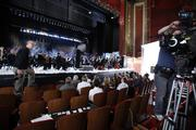 The television ad featured members of the Milwaukee Symphony Orchestra on stage at the Riverside Theatre in Milwaukee.