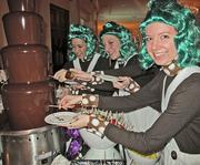 The Oompah-Pahs try out the chocolate fountain.